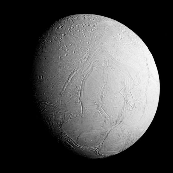 The view was acquired at a distance of approximately 60,000 miles (96,000 kilometers) from Enceladus and at a Sun-Enceladus-spacecraft, or phase, angle of 45 degrees. Image scale is 1,896 feet (578 meters) per pixel.