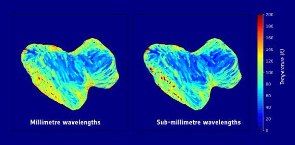 Mapa de las temperaturas del cometa en agosto-octubre de 2014 según el instrumento MIRO (ESA/Rosetta/NASA/JPL-Caltech).