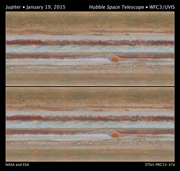 Los dos mapas globales de Júpiter obtenidos por el Hubble ().