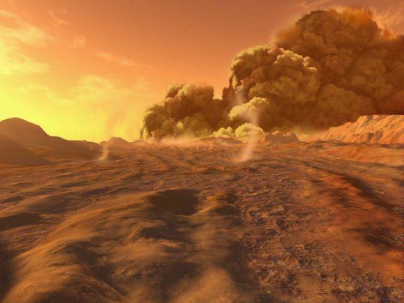 Recreación de cómo se vería una tormenta de polvo en la superficie (Ron Miller).