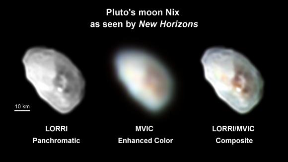 Imágenes a color de Nix (NASA/JHUAPL/SwRI).