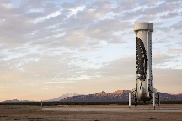 El cohete New Shepherd tras el aterrizaje (Blue Origin).