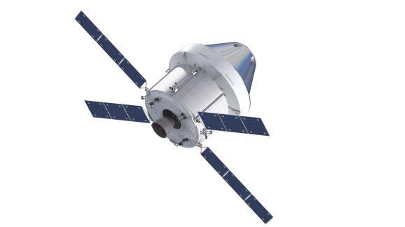 Vista trasera de la nave Orión con el módulo de servicio europeo (NASA/ESA).