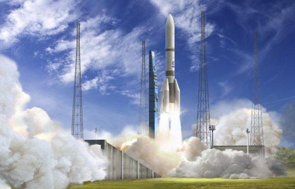 El Ariane 6 A64 despegando (ESA).