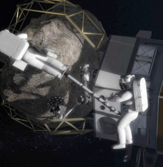 Astronautas recogiendo partes de las muestras en la misión EM-3 de 2025 (NASA).