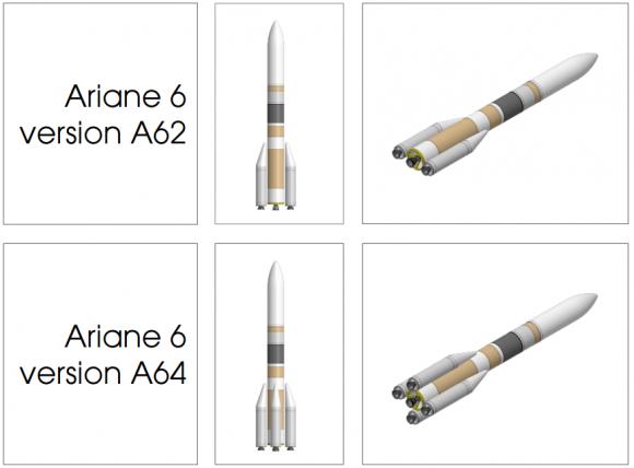 Las dos versiones del Ariane 6 (Airbus Safran).