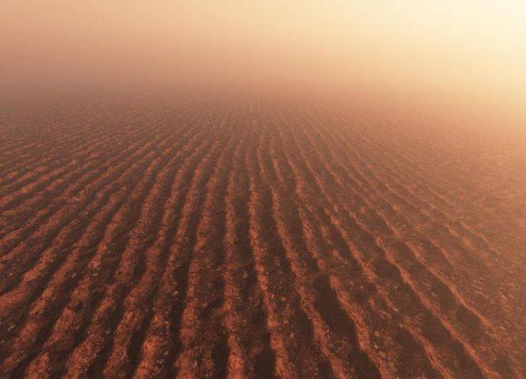 Recreación de los enormes campos de dunas titánicos (Kees Veenenbos).