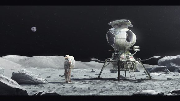 Leónov en la Luna con el LK.