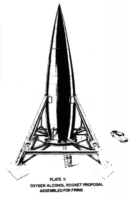 El lanzador espacial de cuatro etapas del estudio RAND de 1946 (NASA).