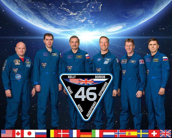 Miembros de la Expedición 46 de la ISS (NASA).