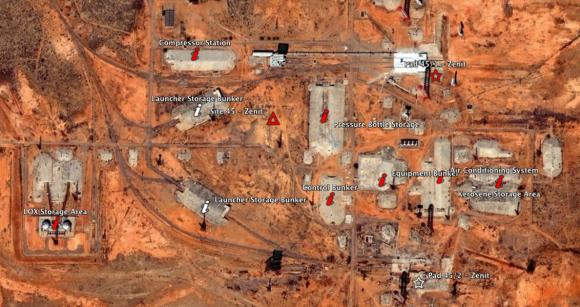 Complejo de procesado del Zenit en Baikonur (Google Earth).