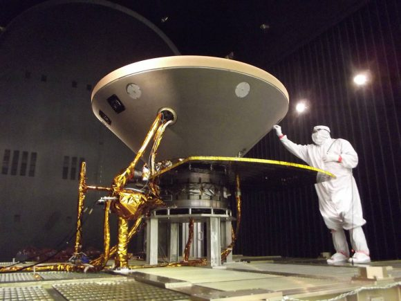 The InSight lander entering thermal vacuum testing in its cruise stage configuration at Lockheed Martin.
