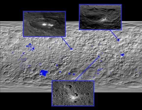 Manchas blancas de Ceres. Arriba, situación del cráter Occator y Oxo ().
