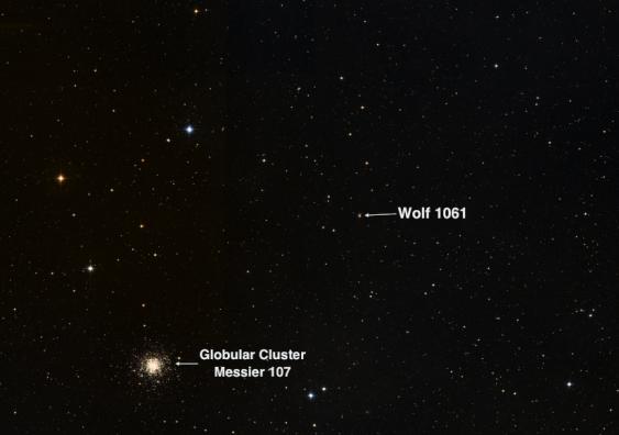 Localización en el cielo de Wolf 1061c (UNSW).