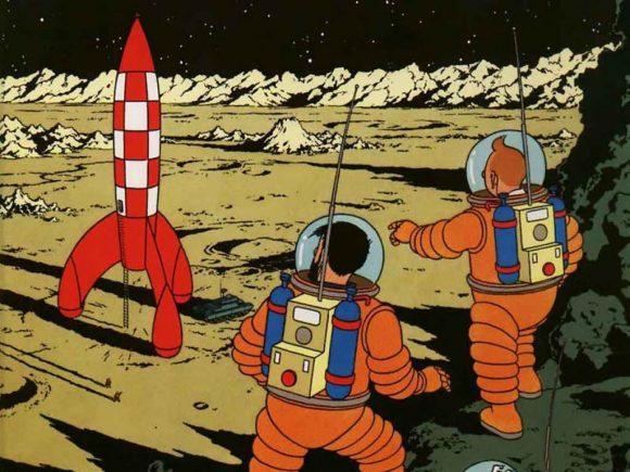El cohete nuclear de Tintín en la Luna, un ejemplo de sistema SSTO/VTOVL.