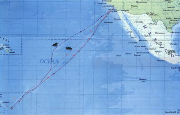 Ruta de ida y vuelta empleada por la plataforma Odyssey y el Sea Launch Commander desde California hasta el ecuador (RKK Energía).