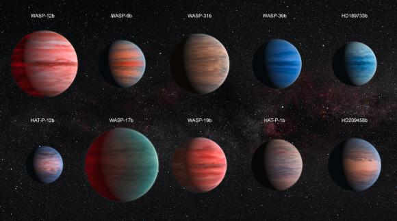 Representación artística de diez jupíteres calientes estudiados por el telescopio Hubble (NASA/ESA).