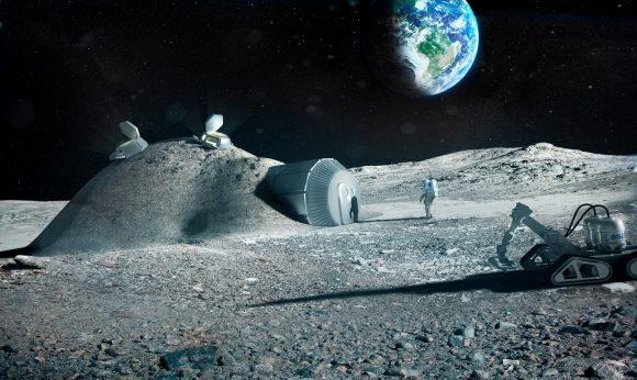 Modelo de una base lunar europea construida mediante impresoras 3D (ESA).