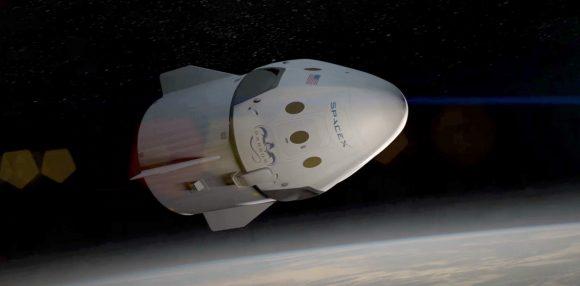 Nave tripulada Dragon V2 de SpaceX (SpaceX).