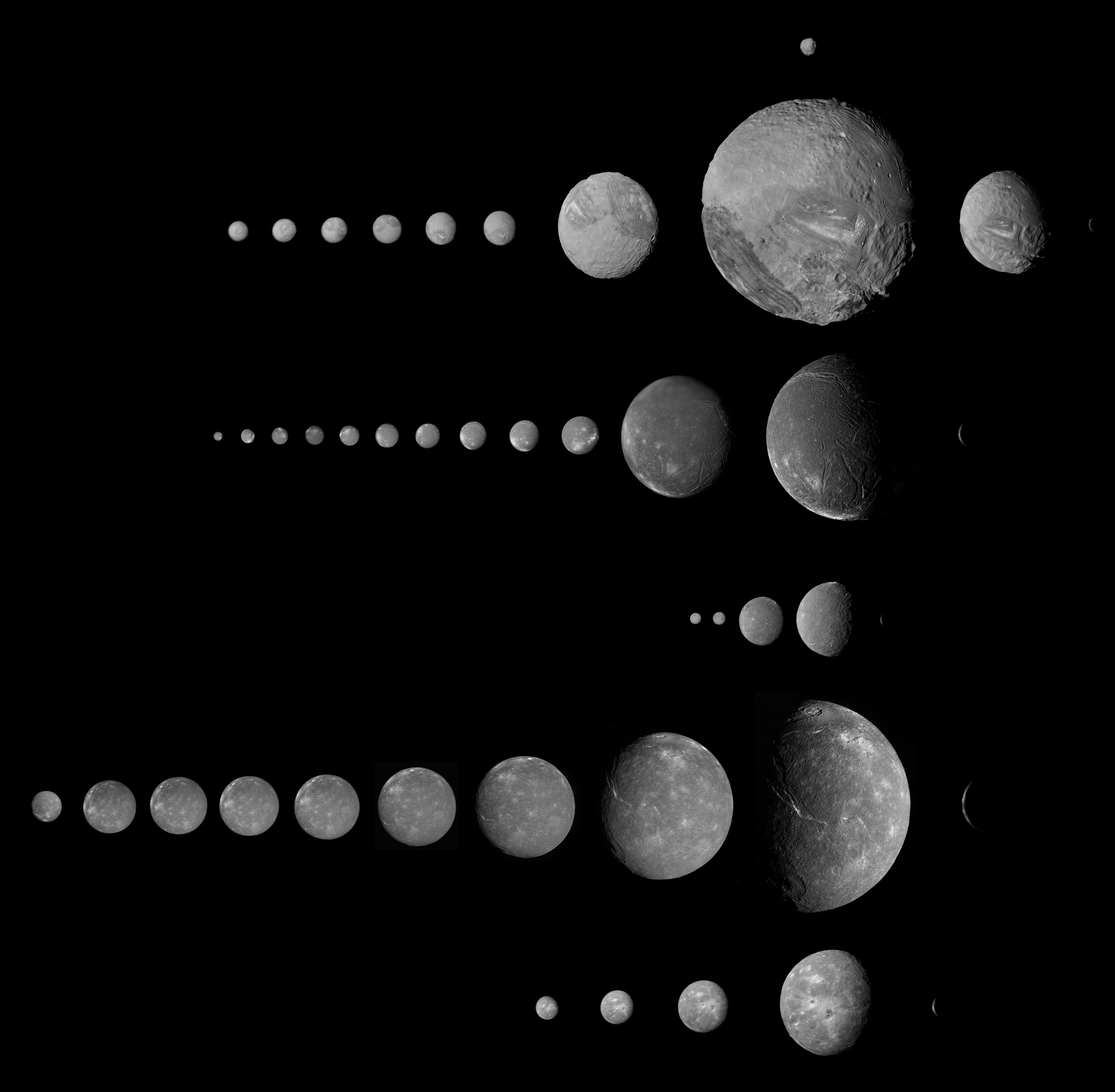 Todas las imágenes de las lunas de Urano vistas por la Voyager 2 (NASA/Ted Stryk).