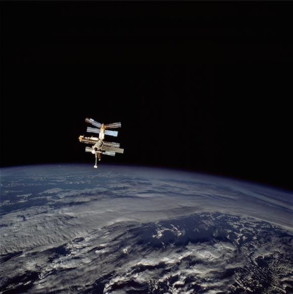 La estación espacial Mir vista desde