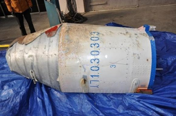 Restos del cohete encontrados en el mar (REUTERS/Defense Ministry/Yonhap).