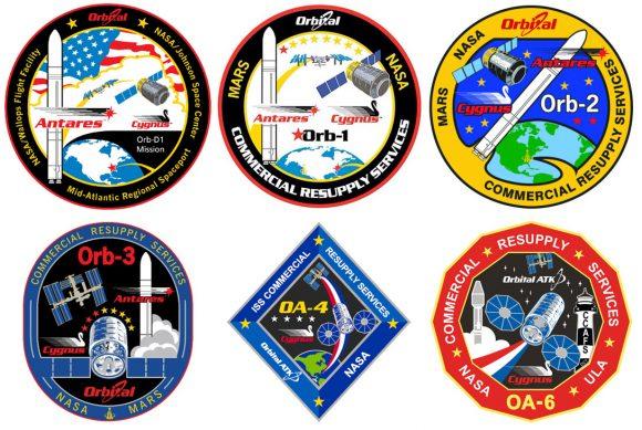 Emblemas de las misiones Cygnus (NASA).