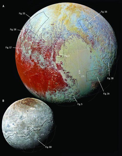 La New Horizons fotografió el hemisferio iluminado de Plutón con una resolución de unos 450 metros por píxel, aunque en ciertas zonas la cámara LORRIalcanzó una resolución de 80 metros por píxel.
