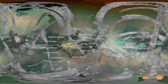 Mapa de las montañas de Titán. Se aprecia la cobertura del radar SAR (NASA/JPL).