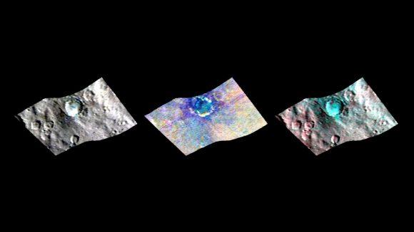 El cráter Haulani en distintas longitudes de onda gracias al espectrómetro infrarrojo de Dawn (NASA/JPL-Caltech/UCLA/ASI/INAF).