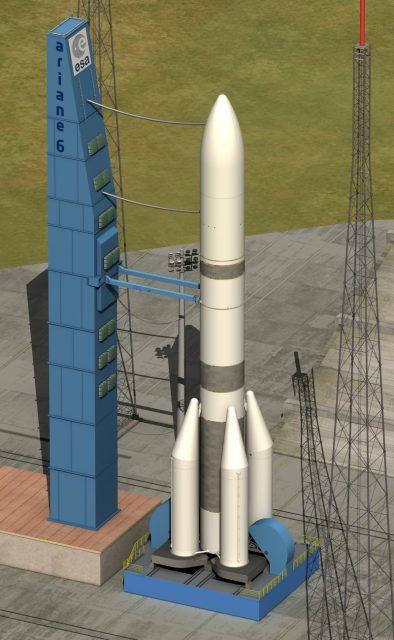 El Ariane 6 en la rampa (CNES).