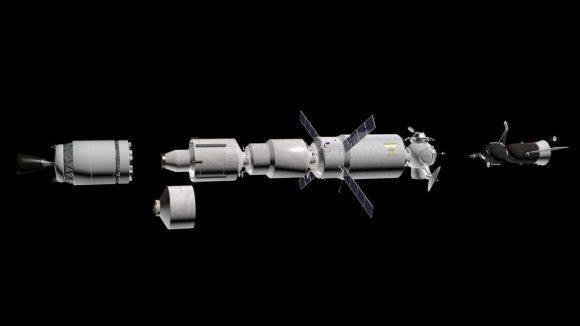 Módulos de la nave Argo en órbita terrestre.