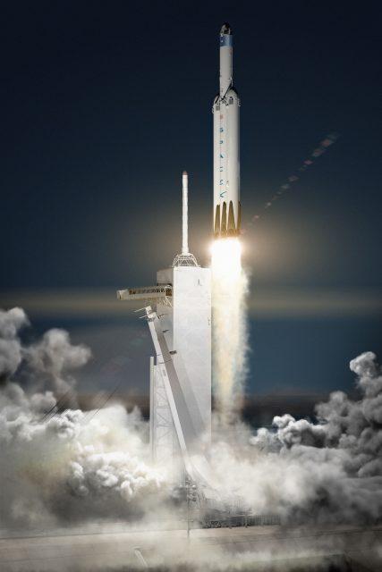 Recreación de un cohete Falcon Heavy de SpaceX lanzando una Red Dragon a Marte (SpaceX).