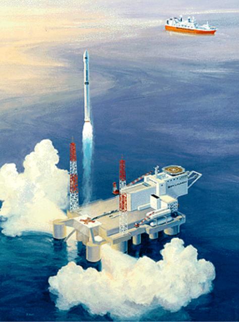 Uno de los conceptos preliminares de Sea Launch (Sea Launch/Boeing).
