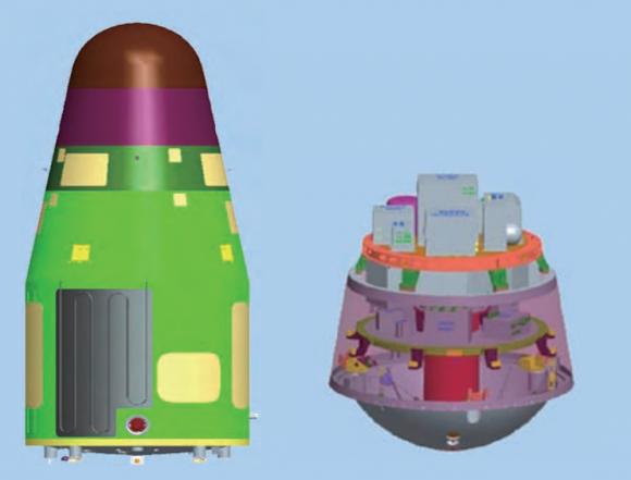 Satélite Shijian 10 (izquierda). A la derecha la disposición de instrumentos de la cápsula de regreso (CAST).