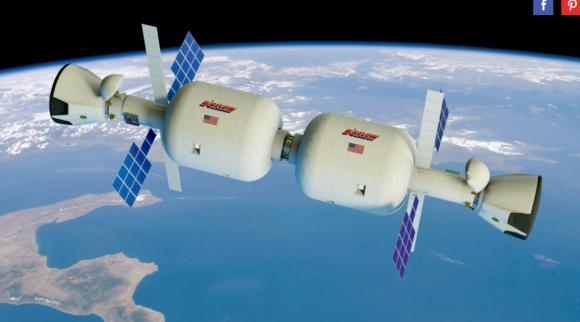 Una estación espacial de Bigelow con dos módulos B330 y dos naves Dragon V2 a las que le falta el módulo trasero (Bigelow).