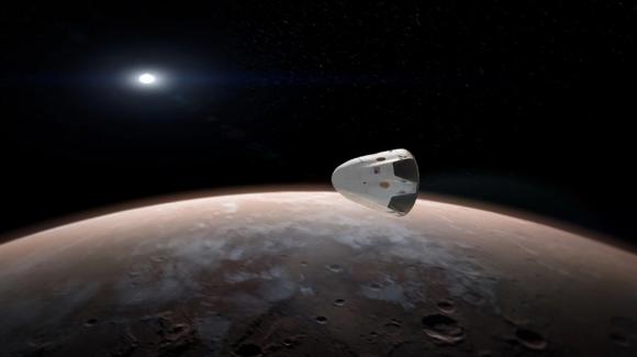 Recreación de la Red Dragon acercándose a Marte (SpaceX).