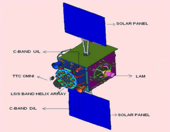 Otra vista de un satélite IRNSS (ISRO).