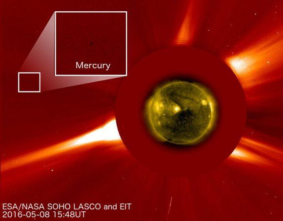 Mercurio visto antes del tránsito por el instrumento LASCO del SOHO (ESA).