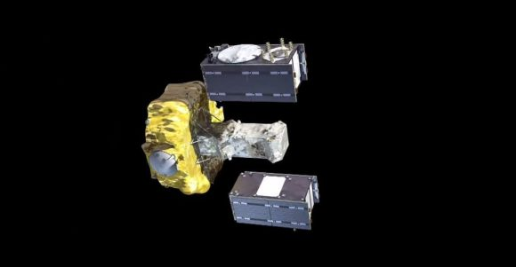Recreación de la separación de los satélites de la etapa Fregat (ESA).