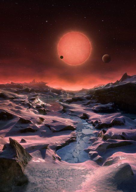 Recreación de los planetas del sistema TRAPPIST-1 (ESO).