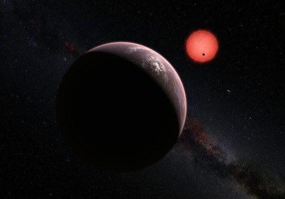 Recreación de los planetas de TRAPPIST-1 (ESO).