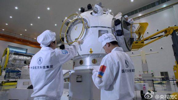 Nodo frontal del módulo Tianhe que será lanzado en 2018 con un cohete CZ-5. Será el primer módulo de la estación espacial china de 60 toneladas.