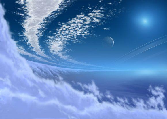 Representación artística del cielo de Neptuno (http://jek2004.com/new_page_18.htm).