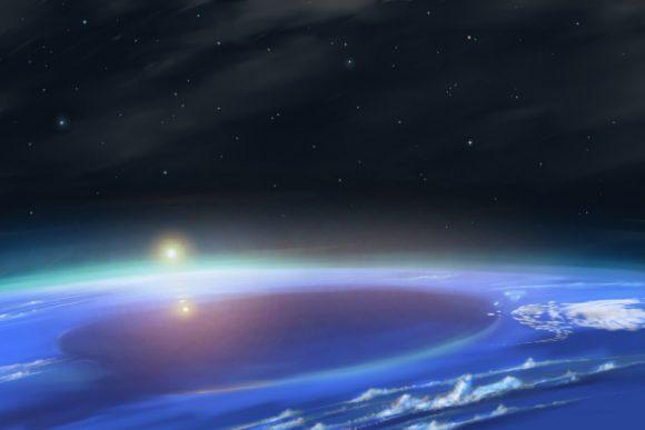Recreación artística de la Gran Mancha Oscura de Neptuno rodeada de cirros altos de hielo de metano (www.shootingstarlogbook.com).