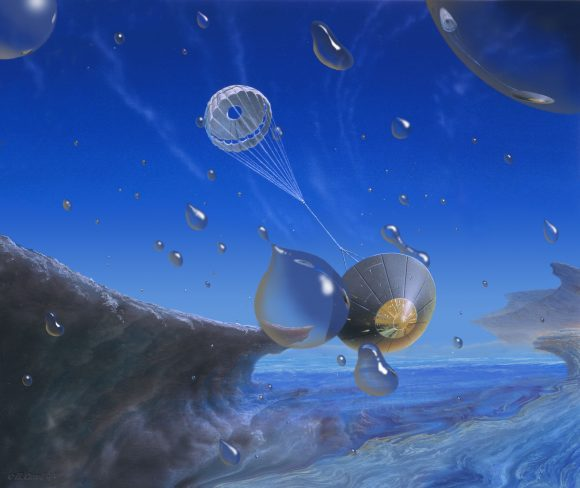Recreación artística de una futura sonda descendiendo por la atmósfera de Neptuno atravesando una lluvia de enormes gotas de metano (Michael Carroll).