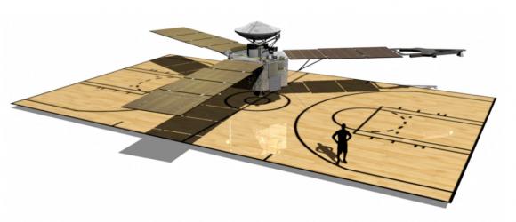 Juno comparada con una cancha de baloncesto (NASA).