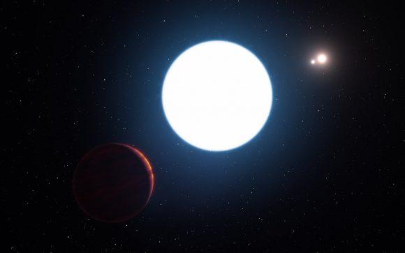 Recreación artística del planeta HD 131399Ab alrededor de sus tres soles (ESO/L. Calçada/M. Kornmesser).