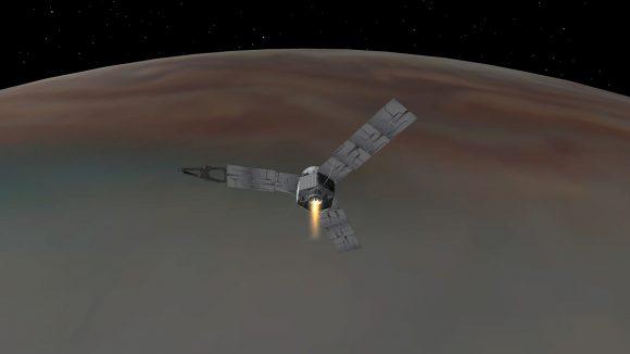 Juno durante el encendido de su motor principal (NASA).