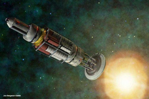 Una nave interplanetaria Orión, ejemplo de propulsión nuclear por pulsos (Joe Bergeron).